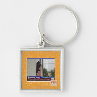 Breaking News 2 Silver-Colored Square Key Ring