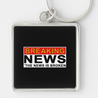breaking news Silver-Colored square key ring