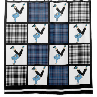 Breaking Plaid Shower Curtain