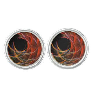 Breaking the Circle Abstract Art Silver Plated Cufflinks