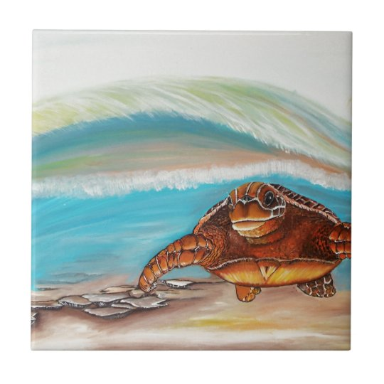 Breaking the Water's Crest Sea Turtle Small Square Tile