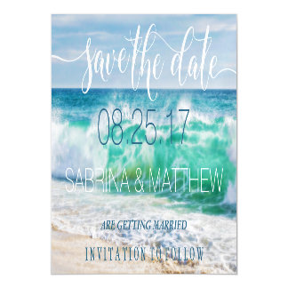 Breaking Waves Tropical Beach Save the Date Magnetic Card