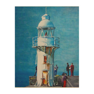Breakwater lighthouse wood photo print