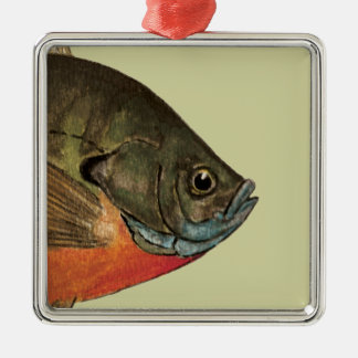 Bream Fishing Silver-Colored Square Decoration