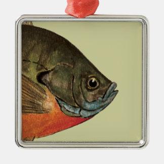 Bream Fishing Silver-Colored Square Decoration