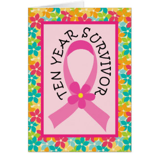Breast Cancer 10 Year Survivor Pink Ribbon Card