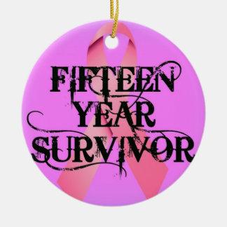 Breast Cancer 15 Year Survivor Christmas Ornament