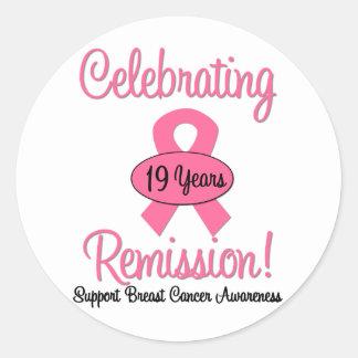 Breast Cancer 19 Year Remission Round Sticker