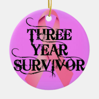 Breast Cancer 3 Year Survivor Christmas Ornament