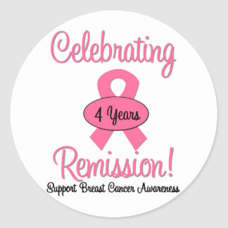 Breast Cancer 4 Year Remission Round Stickers