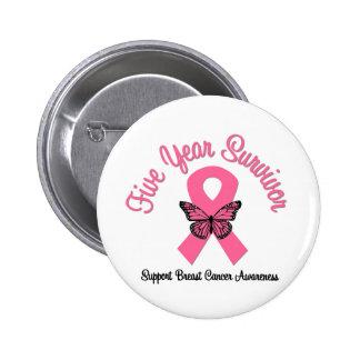 Breast Cancer 5 Year Survivor 6 Cm Round Badge