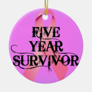 Breast Cancer 5 Year Survivor Christmas Ornament