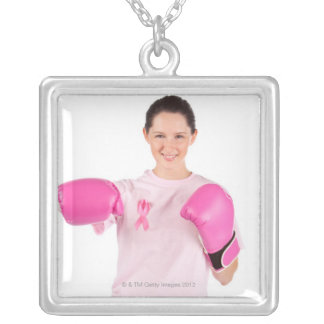 Breast Cancer Awareness 3 Silver Plated Necklace