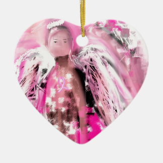 Breast Cancer Awareness Angel #2 Ceramic Heart Decoration
