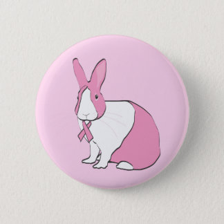 BREAST CANCER AWARENESS BUNNY 6 CM ROUND BADGE