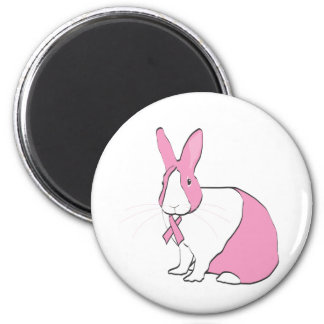 BREAST CANCER AWARENESS BUNNY 6 CM ROUND MAGNET