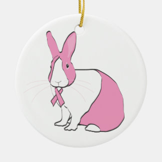 BREAST CANCER AWARENESS BUNNY CHRISTMAS ORNAMENT