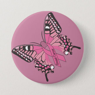 Breast Cancer Awareness Butterfly 7.5 Cm Round Badge