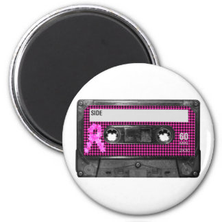 Breast Cancer Awareness Cassette 6 Cm Round Magnet