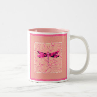 Breast Cancer Awareness Dragonfly Two-Tone Coffee Mug