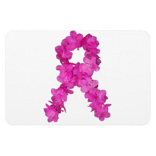 Breast Cancer Awareness Flower Ribbon Rectangular Magnets
