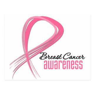 Breast Cancer AWARENESS Grunge Pink Ribbon Postcard