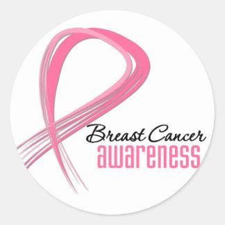 Breast Cancer AWARENESS Grunge Pink Ribbon Round Sticker