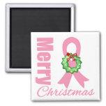 Breast Cancer Awareness Merry Christmas Ribbon Fridge Magnets