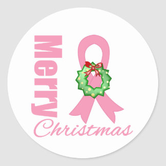Breast Cancer Awareness Merry Christmas Ribbon Round Sticker