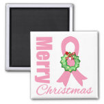 Breast Cancer Awareness Merry Christmas Ribbon Square Magnet