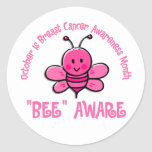 Breast Cancer Awareness Month Bee 1.2 Round Stickers