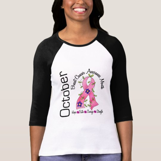 Breast Cancer Awareness Month Flower Ribbon 1 T-Shirt