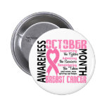 Breast Cancer Awareness Month Heart 1.5 6 Cm Round Badge