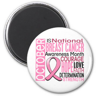 Breast Cancer Awareness Month Ribbon I2 1.3 6 Cm Round Magnet