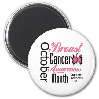 Breast Cancer Awareness Month Script Butterfly Magnet