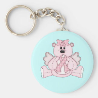 Breast Cancer Awareness Pink Bear Basic Round Button Key Ring
