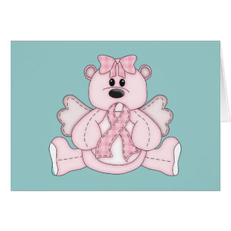 Breast Cancer Awareness Pink Bear Greeting Card
