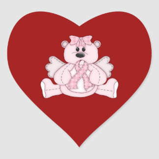 Breast Cancer Awareness Pink Bear Heart Sticker