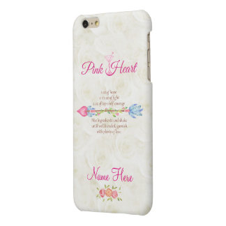 Breast Cancer Awareness Pink Heart Martini Boho iPhone 6 Plus Case