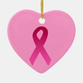 Breast cancer awareness pink ribbon ceramic heart decoration