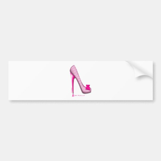 Breast Cancer Awareness Pink Ribbon Heel Bumper Sticker