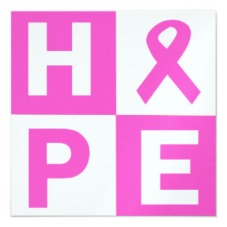 Breast Cancer Awareness Pink Ribbon Hope design 13 Cm X 13 Cm Square Invitation Card