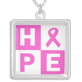 Breast Cancer Awareness Pink Ribbon Hope design Silver Plated Necklace