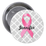 Breast Cancer Awareness Ribbon Personalised Button