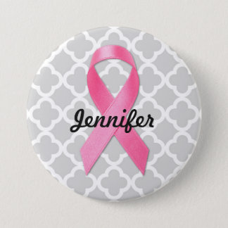 Breast Cancer Awareness Ribbon Personalized 7.5 Cm Round Badge