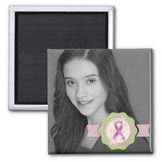 Breast Cancer Awareness Ribbon Photo Keepsake Square Magnet
