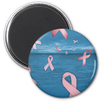 Breast Cancer Awareness Ribbons in the Sky 6 Cm Round Magnet