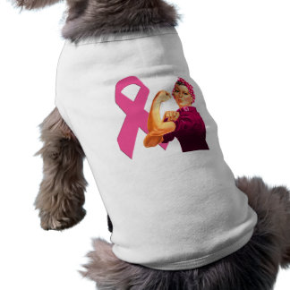 Breast Cancer Awareness Rosie the Riveter Dog T Shirt