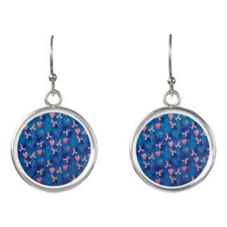 Breast Cancer Awareness Silver Plated Earrings