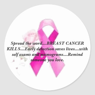 "Breast Cancer Awareness ""Spread the Word"" Round Stickers"